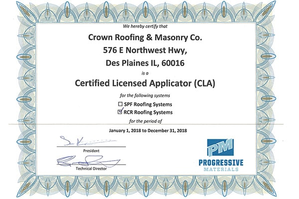Crown Roofing and Masonry Certificate